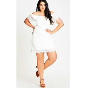 Ivory Lace Off-Shoulder Shift Dress